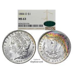 1884-O $1 Morgan Silver Dollar Coin NGC MS63 CAC Amazing Toning