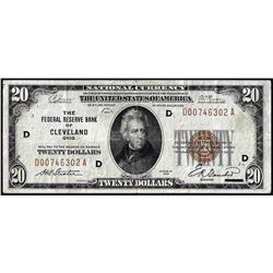 1929 $20 Federal Reserve Bank Note Cleveland