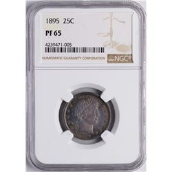 1895 Proof Barber Quarter Coin NGC PF65