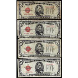 Lot of (4) 1928F $5 Legal Tender Notes