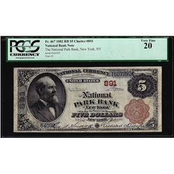 1882BB $5 Park Bank of New York, NY CH# 891 National Currency Note PCGS Very Fine 20