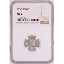 1836 Capped Bust Half Dime Coin NGC MS61