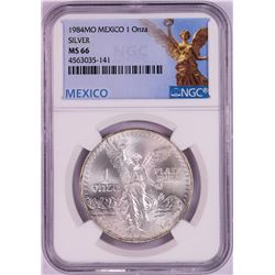 1984Mo Mexico 1 Onza Libertad Silver Coin NGC MS66