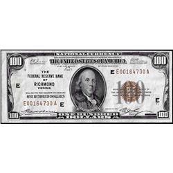 1929 $100 Federal Reserve Bank Note Richmond