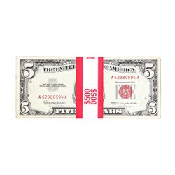 Lot of (100) 1963 $5 Legal Tender Notes