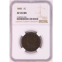 1845 Braided Hair Large Cent Coin NGC XF45BN