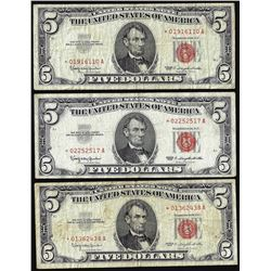 Lot of (3) 1963 $5 Legal Tender STAR Notes