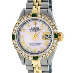 Rolex Ladies Two Tone Pink MOP Diamond & Emerald Oyster Perpetual Datejust Watch
