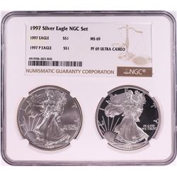 1997 $1 American Silver Eagle Coin Set NGC MS69/PF69 Ultra Cameo