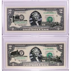 Lot of (2) 2003A $2 Federal Reserve Notes with Colorized Overprint in Cases