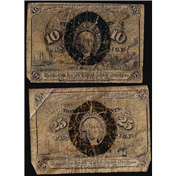 Lot of (2) March 3, 1863 Second Issue Fractional Currency Notes