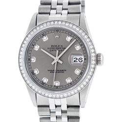 Rolex Men's Stainless Steel Slate Gray Diamond 36MM Datejust Watch