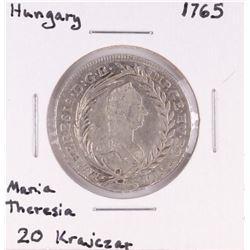 1765 Hungary 20 Krajczar Maria Theresia Silver Coin