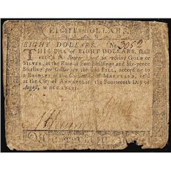 August 14, 1776 $8 Maryland Colonial Currency Note