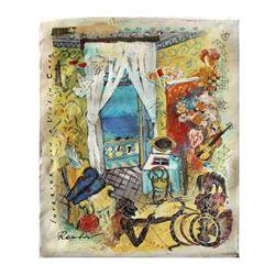 """Olga Roubin """"Violin Case"""" Original Acrylic On Canvas"""