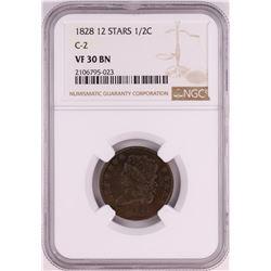 1828 12 Stars C-2 Classic Head Half Cent Coin NGC VF30 BN
