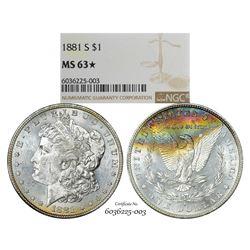 1881-S $1 Morgan Silver Dollar Coin NGC MS63* Star Amazing Toning