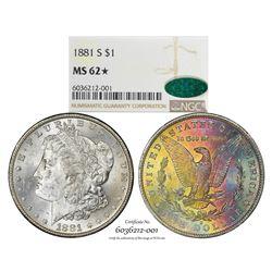 1881-S $1 Morgan Silver Dollar Coin NGC MS62* Star CAC Amazing Toning