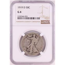 1919-D Walking Liberty Half Dollar Coin NGC G4