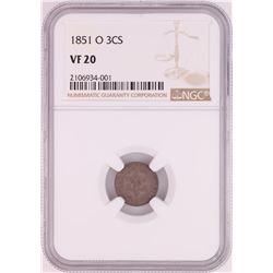 1851-O Three Cent Silver Piece Coin NGC VF20