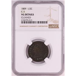 1809 C-3 Classic Head Half Cent Coin NGC VG Details