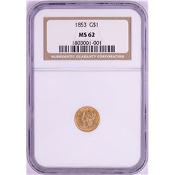1853 Type 1 $1 Liberty Head Gold Coin NGC MS62