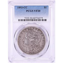 1893-CC $1 Morgan Silver Dollar Coin PCGS VF20