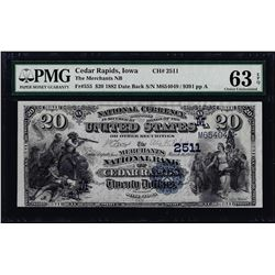 1882DB $20 Cedar Rapids, IA CH# 2511 National Note PMG Choice Uncirculated 63EPQ