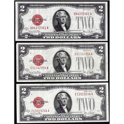 Lot of (3) 1928G $2 Legal Tender Notes