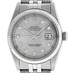 Rolex Men's Stainless Steel 36MM Diamond Oyster Perpetual Datejust Watch