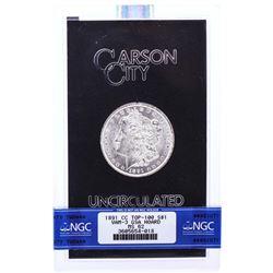 1891-CC VAM-3 $1 Morgan Silver Dollar Coin GSA Hoard  NGC MS62 with Box & COA