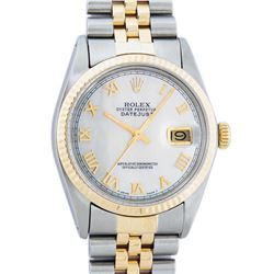 Rolex Men's Two Tone Mother Of Pearl Roman Oyster Perpetual Datejust Watch