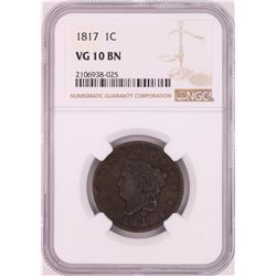 1817 Coronet Head Large Cent Coin NGC VG10BN