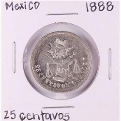 1888 Mexico 25 Centavos Silver Coin