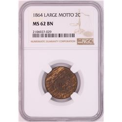 1864 Large Motto Two Cent Piece Coin NGC MS62BN