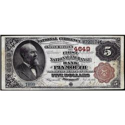 1882BB $5 First National Exchange Bank of Plymouth, MI CH# 4649 National Currency Note
