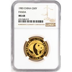 1983 China 50 Yuan Gold Panda Coin NGC MS68