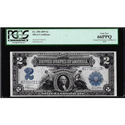 1899 $2 Mini-Porthole Silver Certificate Note Fr.258 PCGS Gem New 66PPQ