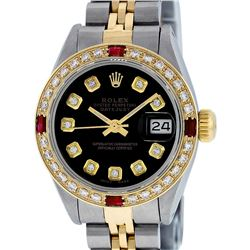 Rolex Ladies Two Tone Black Diamond & Ruby Oyster Perpetual Datejust Watch
