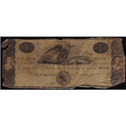 1822 $1 New-Haven Connecticut Obsolete Bank Note