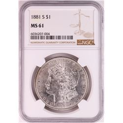 1881-S $1 Morgan Silver Dollar Coin NGC MS61 Nice Toning