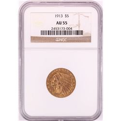 1913 $5 Indian Head Half Eagle Gold Coin NGC AU55