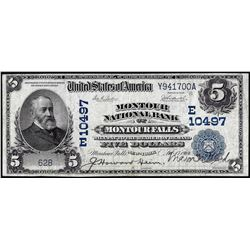 1902DB $5 Montour NB of Montour Falls, New York CH# 10497 National Currency Note