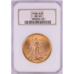 1928 $20 St. Gaudens Double Eagle Gold Coin NGC MS63 Old Holder
