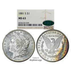 1881-S $1 Morgan Silver Dollar Coin NGC MS63 CAC Amazing Toning