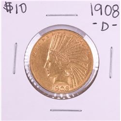 1908-D with Motto $10 Indian Head Eagle Gold Coin
