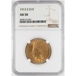 1913-S $10 Indian Head Eagle Gold Coin NGC AU58