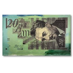 "Steve Kaufman ""Isreal 20 Shekel Note Bill"" Limited Edition Mixed Media On Canvas"
