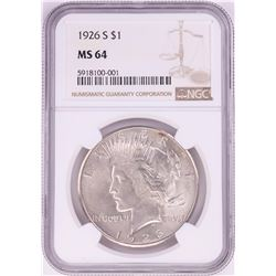 1926-S $1 Peace Silver Dollar Coin NGC MS64