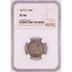 1875-S Twenty Cent Piece Coin NGC XF40